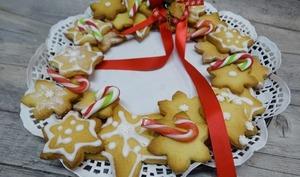 Couronne de Noël en biscuits sablés