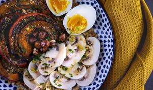 Salade hivernale au petit épeautre et potimarron rôti