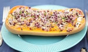 Courge butternut gratinée au quinoa et chèvre