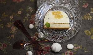 Bûche au chocolat blanc et basilic coeur lemon curd