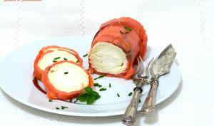 Roulé de chèvre au saumon.