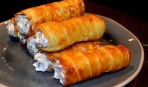 Rouleaux pâte feuilletée au fromage et champignons