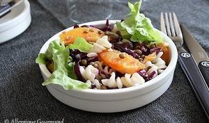 Salade de pâtes, lentilles, chou rouge et orange