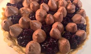 Tarte chocolat, tomme, myrtille et framboise