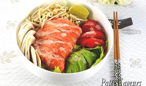 Sashimi de saumon en salade
