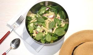 Salade pâtes complètes et épinard