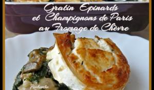 Gratin d'épinards et champignons de Paris au fromage de chèvre et noisettes