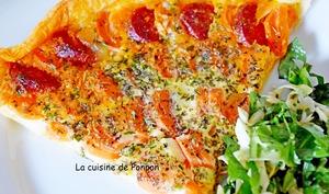 Tarte aux carottes, chorizo et mozza