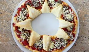 Pizza maison en couronne