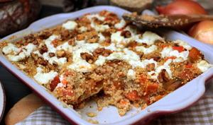 Gratin de quinoa patates douces et chèvre frais