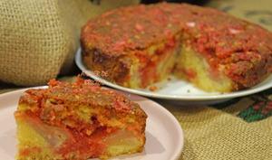 Le gâteau Lyonnais aux poires et aux pralines roses