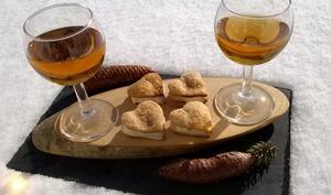 Sèches comtoises, glace au Macvin et glace au miel de sapin du Jura et aux noisettes
