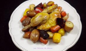 Coquelet aux légumes racines confits au four
