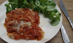 Cannellonis de jambon à la ricotta, gratinés sauce tomate