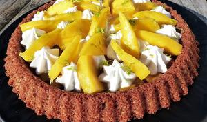 Tarte renversée à la mangue, chantilly coco