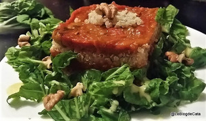 Salade de Pak Choï, quinoa et Caviar d'aubergines et poivrons