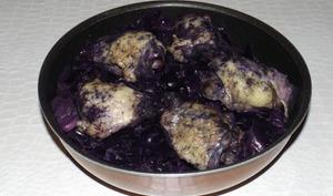 Poulet au chou rouge aux lardons et au vin rouge