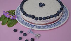 Cheesecake sans cuisson aux myrtilles et au citron
