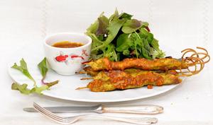 Brochettes de poulet au satey