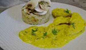Aiguillettes de poulet aux champignons sauce moutarde au fromage blanc