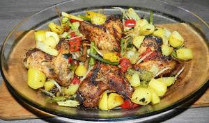 Ailes de poulet aux épices et légumes