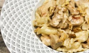 Pâtes au poulet, miel, gorgonzola et noix