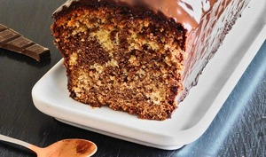 Mon cake marbré avec son nappage chocolat