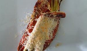 Toast de calçots au four et sa sauce romesco