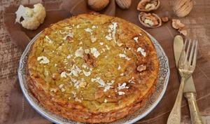 Gâteau de chou-fleur parmesan cumin et noix