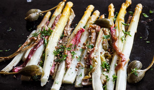 Asperges blanches et rhubarbe