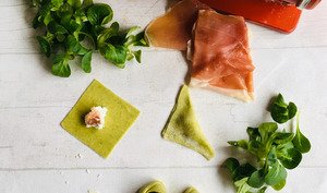 Tortellinis verts à la ricotta et au jambon de Parme