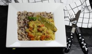 Écrevisses et petits légumes au curry