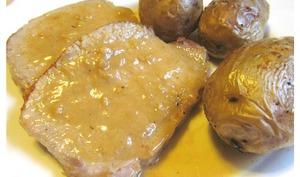 Rôti de porc aux pommes de terre sauce à la cancoillotte