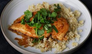 Escalope de poulet sauce sirop d'érable soja gingembre