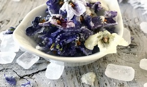 Fleurs de violettes cristallisées