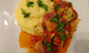 Zampone aux artichauts et tomates