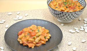 Haricots blancs, sauce tomates et lardons