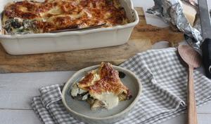 Lasagnes aux champignons, épinards et burrata