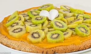 Sablé géant aux kiwis et à la crème d'abricot