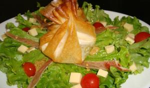 Salade composée avec aumônière de chèvre