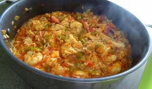Jambalaya au poulet et crevettes