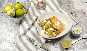 Saumon pommes de terre primeurs citron vert et fromage blanc