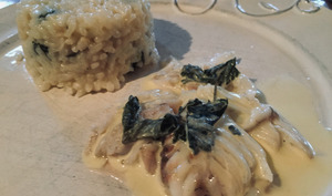 Carrelet, risotto aux orties, sauce aux orties