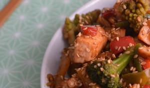 Saumon et ses légumes à la sauce hoisin