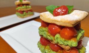 Millefeuille sucré tomate et basilic