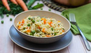 One pot rice aux fèves, petits-pois et carottes