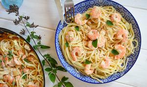 Spaghettis aux crevettes et au citron