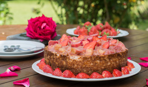 Cheesecake Fraise Rhubarbe et Spéculoos