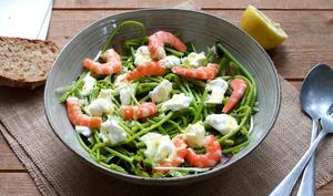 Salade aux asperges des bois et crevettes