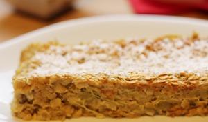 Cake aux flocons d'avoine et à la rhubarbe